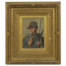 """19th Century Oil Painting of a """"16th Century Pikeman"""" Soldier's Portrait"""
