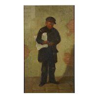 "Antique Oil Painting ""The Newsboy"" by Charles Markham (American, 1837-1907)"
