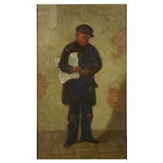"""Antique Oil Painting """"The Newsboy"""" by Charles Markham (American, 1837-1907)"""