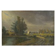 """""""Path to Town"""" Antique Landscape Oil Painting, Signed Illegibly, 19th Century"""
