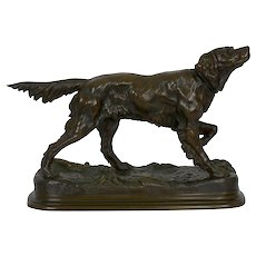"""Setter on Point"" Antique French Bronze Sculpture of a Retriever Dog by Jules Moigniez"