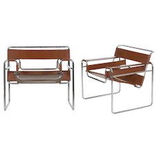"Vintage Pair of Chrome and Leather ""Wassily"" Arm Chairs after Marcel Breuer"