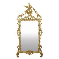 Chippendale Style Carved Giltwood Antique Pier Mirror, 19th Century