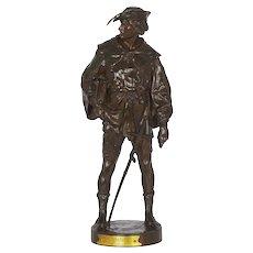 """""""Escholier, 14th Siècle"""" Antique French Bronze Sculpture by Emile Picault"""
