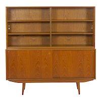 Vintage Scandinavian Mid Century Modern Teak Bookcase Cabinet
