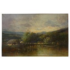 """Cottage on a Lake"" Barbizon Oil Painting by Victor Dupré circa 1850"