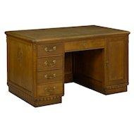 Antique Art Deco Period Carved Oak Pedestal Writing Desk w/ Leather Top