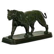 French Antique Bronze Sculpture of Marching Lion by Paul Edouard Delabrierre