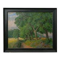 """Figures Working the Field"" Antique Oil Landscape Painting by Johannes Lippmann"