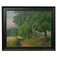 """Figures Working the Field"" Antique Oil Landscape Painting by Johannes Lippmann"