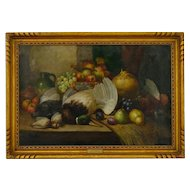 Still Life Antique Oil Painting of Fruit & Game by William Duffield (British, 1816-1863), Signed