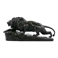"Antique French Bronze Sculpture ""Lion L'affut"" by Isidore Jules Bonheur & Peyrol"