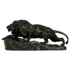 """Lion L'Affut"" French Antique Bronze Sculpture by Isidore Jules Bonheur & Peyrol"