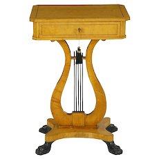 Antique Biedermeier Birch Accent Side Table, 19th Century