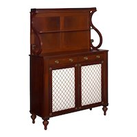 19th Century English Regency Antique Mahogany Chiffonier Cabinet with Bookshelf