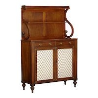 English Regency Antique Mahogany and Brass Cabinet Sideboard Server, 19th Century