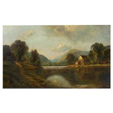 "30"" x 50"" American Antique Painting of ""River Landscape"" by Edmund Darch Lewis"
