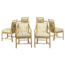 "Vintage Set of Six McGuire Leather-Bound Rattan Dining Chairs w/ ""Target"" back"