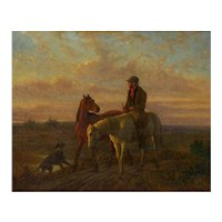 19th Century Antique Equestrian Oil Landscape Painting of Figure with Horses, Unsigned