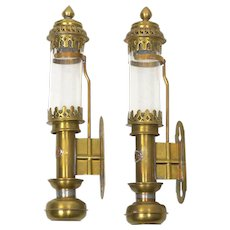 Pair of Antique Brass and Glass Railway Carriage Candle Light Lamps w/ GNR Plaque