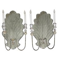Pair of Italian Venetian Style Silver-Gilt and Eglomisé Glass Candelabra Wall Sconces
