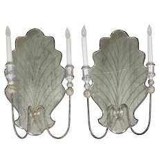Pair of Italian Venetian Style Silver-Gilt and Eglomisé Glass Candelabra Wall Sconces