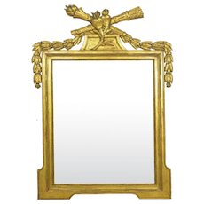 Antique French Neoclassical Style Carved Gold Giltwood Wall Pier Mirror