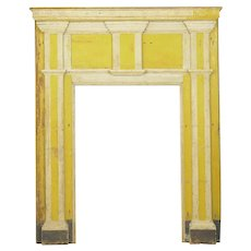 Neoclassical Federal Antique Fireplace Surround Mantel in Early Yellow & White Paint