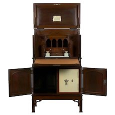 English Edwardian Mahogany Fall-Front Secretary Desk with Built-In Safe circa 1900