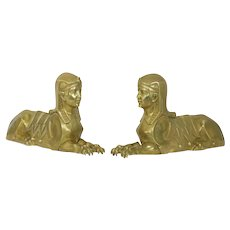 Pair of  French Egyptian Revival Sphinx Figural Bronze Sculpture Chenets, 19th Century
