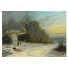 "A Winter Walk"" Landscape Oil Painting by William T. Such (British, fl. 1847-57)"