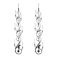 Antique Pair of Wrought Iron Nine Candle Wall Sconces