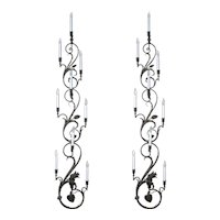 Pair of Wrought Iron Nine-Light Candelabra Wall Sconces