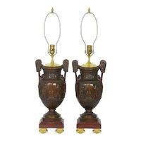 Pair of Neo-Greco Antique Cast Bronze Amphora Table Lamps circa 1900