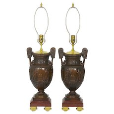 Pair of Neo-Greco Antique Cast Bronze Amphora Table Lamps circa 1900