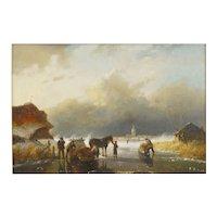 """""""Figures on Frozen Lake"""" Antique Landscape Painting, Dutch, 19th Century"""