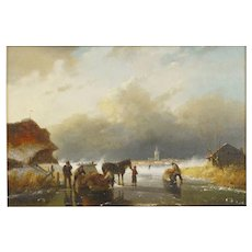 """Figures on Frozen Lake"" Antique Landscape Painting, Dutch, 19th Century"