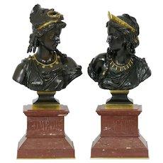 "Pair of Bronze Bust Sculptures of ""Comedie & Tragedie"" by Eugene Laurent c. 1885"