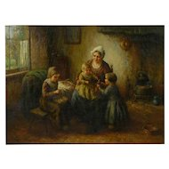 """Happy Days"" Oil Painting on Canvas of Mother with Children by Cornelius Wouter Bouter"