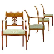 19th Century Belgian Empire Set of Four Antique Chairs by Jean-Joseph Chapuis