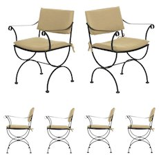 Vintage Set of Six Black Iron Patio Dining Chairs in Salterini Taste, Mid Century Modern
