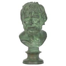 19th Century Antique Bronze Sculpture after Pseudo-Seneca Bust