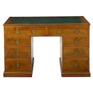 19th Century English Antique Mahogany and Leather Pedestal Desk