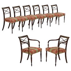 Set of Eight English Regency Carved Mahogany Antique Dining Chairs circa 1810