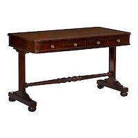 George IV Mahogany and Leather Writing Table Desk, England c. 1830-40