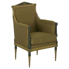 French Directoire Painted Antique Bergere Arm Chair, 19th Century