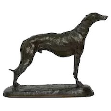 French Antique Bronze Sculpture of a Greyhound Dog by Emmanuel Fremiet
