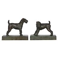 """Pair of Terriers"" Bronze Sculpture Bookends by Edith B. Parsons and Gorham Co."