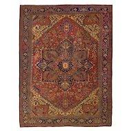 Fine Room-Size Antique Mahal Rug w/ Heriz-Serapi Colors, 13.5 x 10.5
