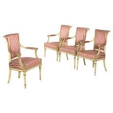 Set of Four Neoclassical White-Painted French Accent Arm Chairs, 19th Century